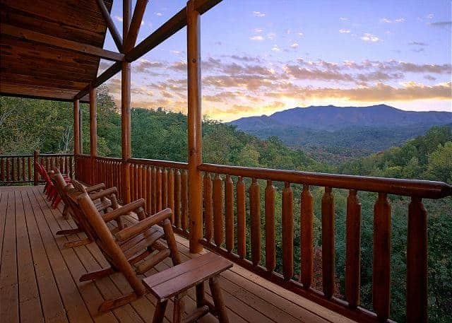 rocking chair cabin deck mountain view
