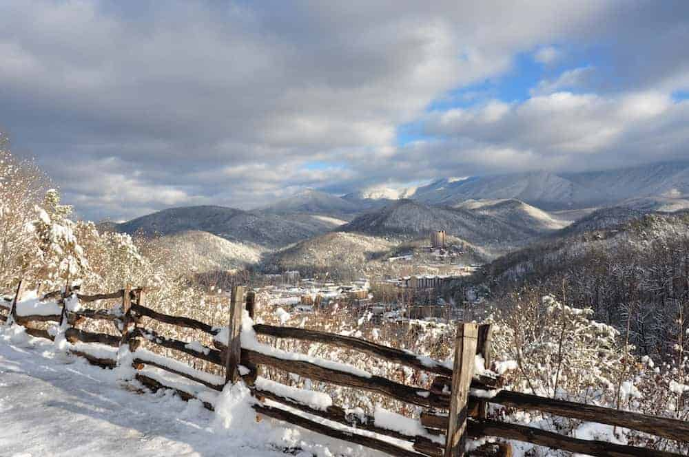 A breathtaking photo of Gatlinburg in winter.