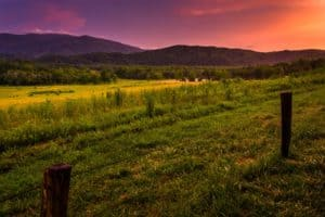 A stunning sunset in Cades Cove
