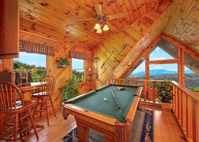 Game room in one of our 1 bedroom cabins in Gatlinburg