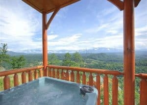 Hot tub on the deck of the Tennessee Treasure cabin in the Smoky Mountains.