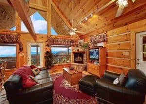Large living room in one of our 1 bedroom cabins in Gatlinburg