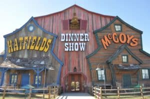 The exterior of the Hatfield & McCoy Dinner Show in Pigeon Forge.