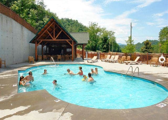 The outdoor pool at the Covered Bridge Resort in the Smoky Mountains.