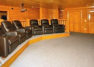 The theater room in the Big Bear Cinema cabin